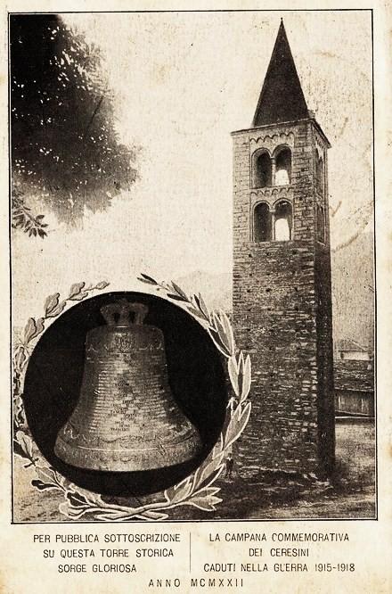 VALLI DI LANZO (TO) - CERES - CAMPANA COMMEMORATIVA GRANDE GUERRA  1931